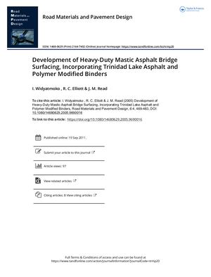Development Of Heavy Duty Mastic Asphalt Bridge Surfacing, Incorporating Trinidad Lake Asphalt And Polymer Modified Binders