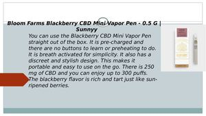 Bloom Farms Blackberry Cbd Mini Vapor Pen 0 5 G