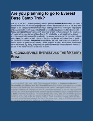 Are You Planning To Go To Everest Base Camp Trek