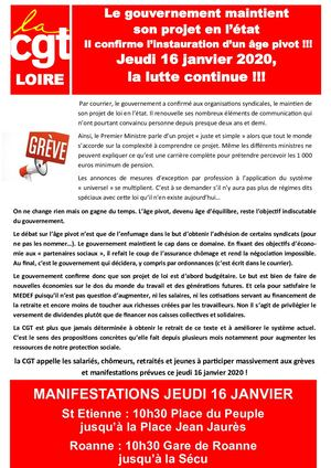 Tract Ud CGT 42 Le 16 Janvier 2020
