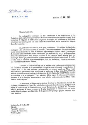 Lettre Pm Mission Philanthropie