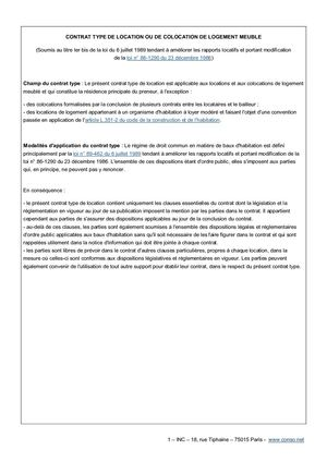 Calameo Modele Contrat De Location Meuble