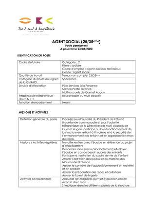 Calaméo - Agent Social Fiche De Poste