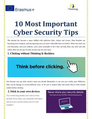 10 Most Important Cyber Security Tips Etwinning
