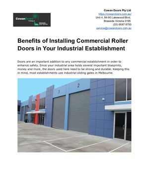 Benefits Of Installing Commercial Roller Doors In Your Industrial Establishment