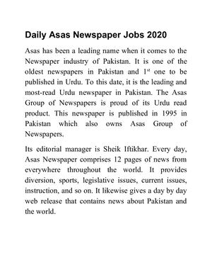 Daily Asas Newspaper Jobs