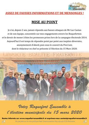 Flyer Roquefort Ensemble, mise au point.