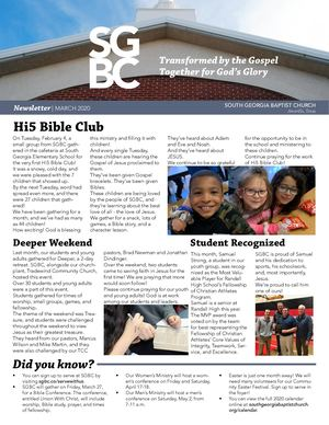 SGBC Newsletter | March 2020