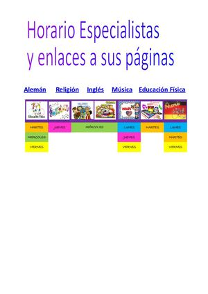 Horario Especialistas Y Enlaces