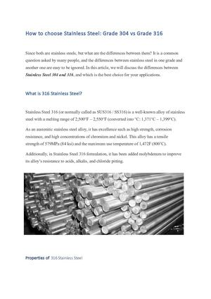 How To Choose Stainless Steel 304 Vs Stainless Steel 316