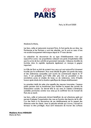 Courrier À Anne Hidalgo Propositions Cafés Et Restaurants