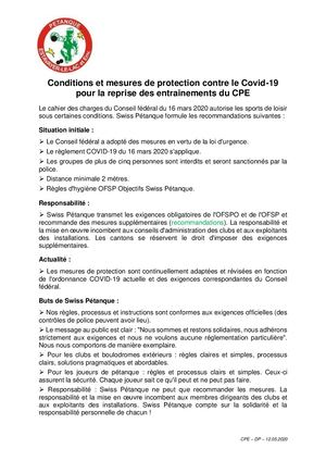 Plan de protection du CPE contre le Covid-19