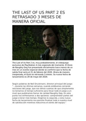The Last Of Us Part 2 Es Retrasado 3 Meses De Manera Oficial