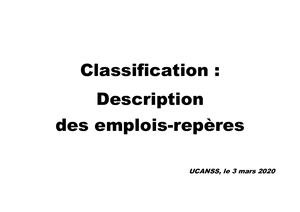 Classification Description Emplois Repérés Ucanss Et Non Reperés