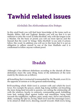 Tawhid Related Issues