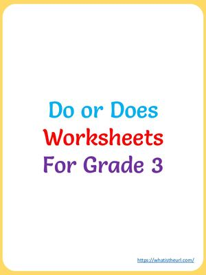Do Or Does Worksheets