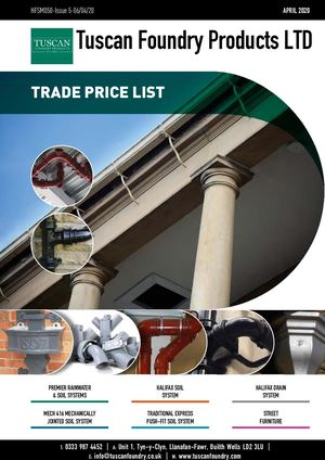 Tuscan Foundry Products Price List 2020