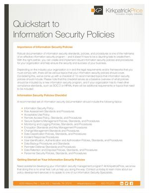 Quickstart To Information Security Policies for Startups