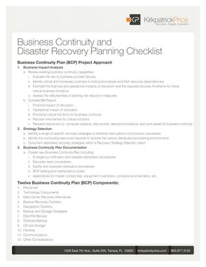 Business Continuity and Disaster Recovery Planning Checklist