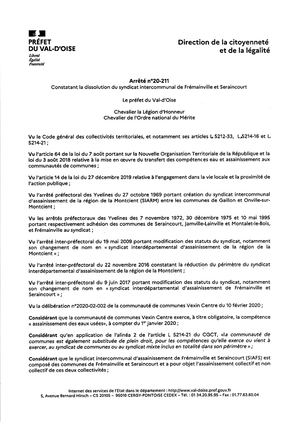 AP 2020 211 Dissolution Du Syndicat Intercommunal De Frémainville & Seraincourt