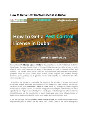 How To Get A Pest Control License In Dubai