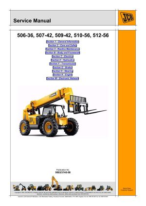 Jcb 506 36, 507 42, 509 42, 510 56 Loadalls Service Manual
