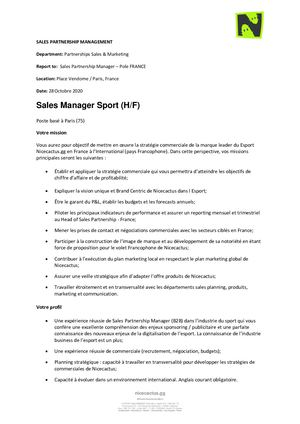 NICE CACTUS - CDI SALES MANAGER SPORT (H/F)
