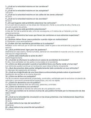 Calameo Examen De Manejo Preguntas Y Respuesta
