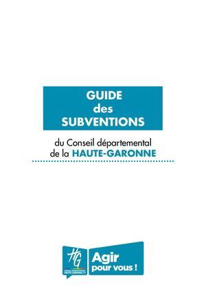 Guide Subventions