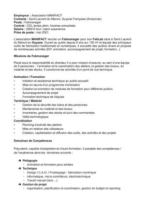 Offre D'emploi Fabmanager 2021 Manifact 050121